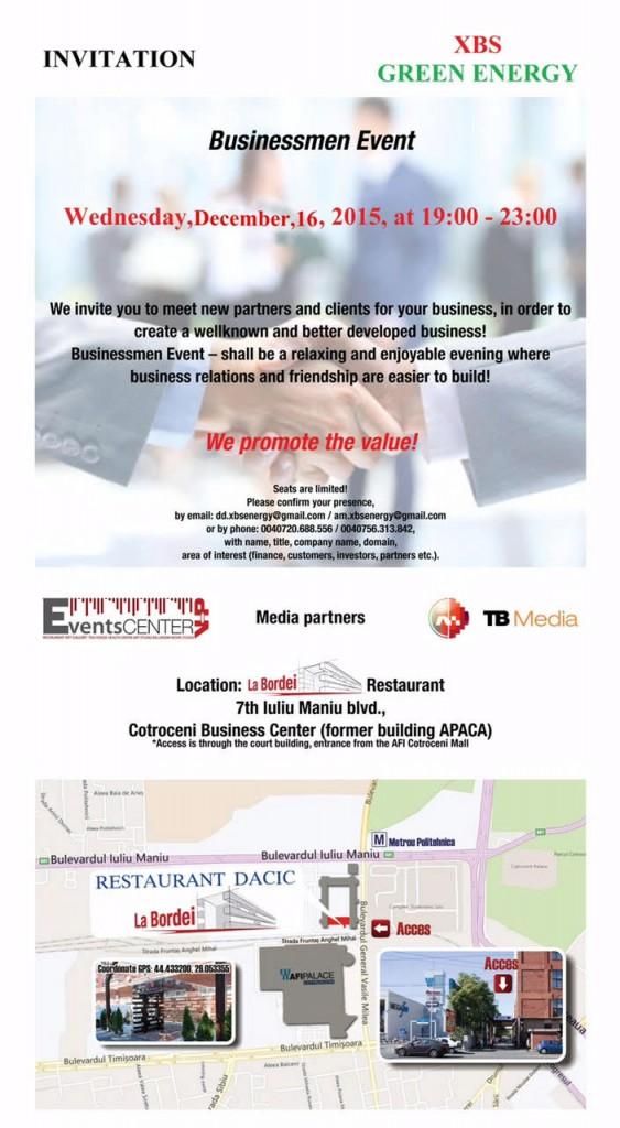Invitatie la Seara Oamenilor de Afaceri: a XII - a editie 16 DECEMBRIE 2015